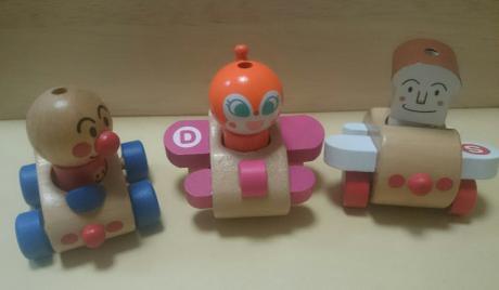値下げ♪アンパンマン 木製人形3体セット グッズの画像