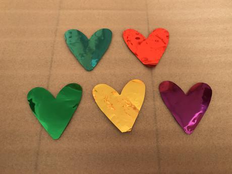 嵐★落下物★ハート 青&赤&緑&黄色&紫 5枚セット コンサートグッズの画像