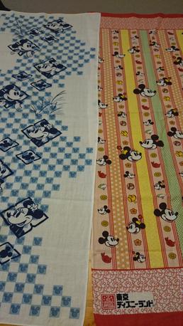 【出品期限あり】ディズニー ミッキー&ミニー 手拭い2本セット ディズニーグッズの画像
