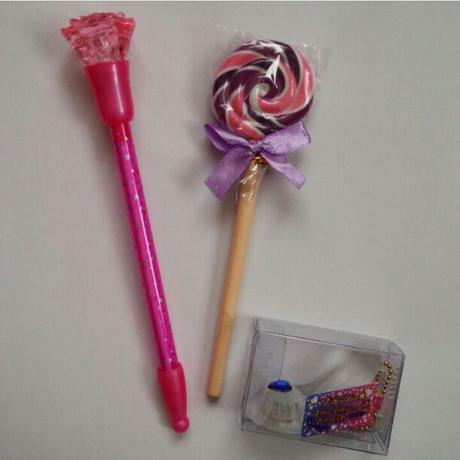 ローズボールペン&ロリポップ風ボールペン&プリンセスシューズマスコットセット ディズニーグッズの画像
