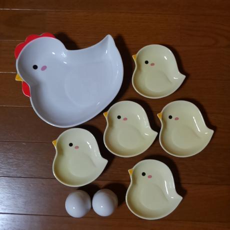 にわとり親子皿セット グッズの画像
