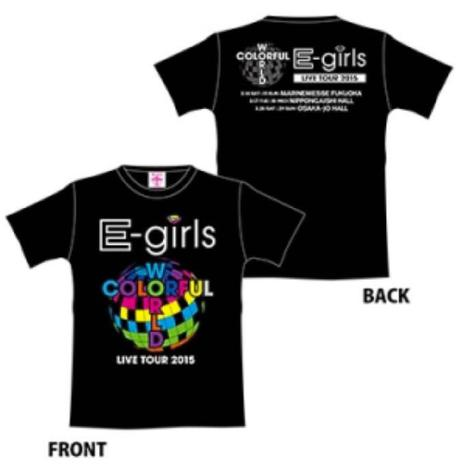 E-girls colorful world Tシャツ 黒