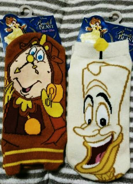 未使用靴下ディズニー美女と野獣ルミエールとコグスワースセット ディズニーグッズの画像