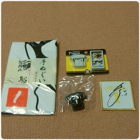 【阪神タイガース】鳥谷グッズ4点(手ぬぐい、クリップ、アイロンワッペンなど) グッズの画像