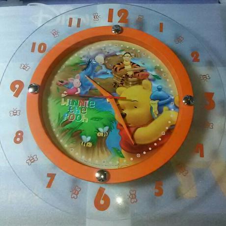 プーさん  ガラス製  ビック  ウォールクロック ディズニーグッズの画像