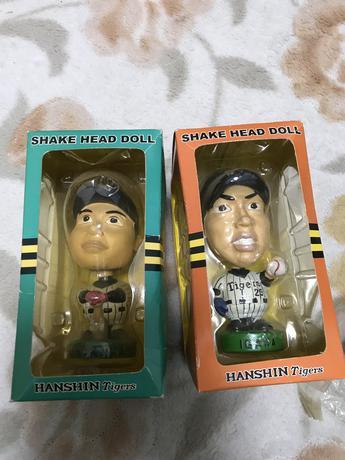 元虎選手の、エース井川と主砲浜中のバブルヘッド人形です。 グッズの画像